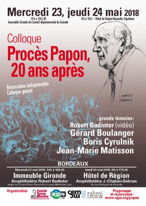 Colloque Procès Papon 20 ans après. 23 et 24 mai 2018, Bordeaux, Hôtel de Région